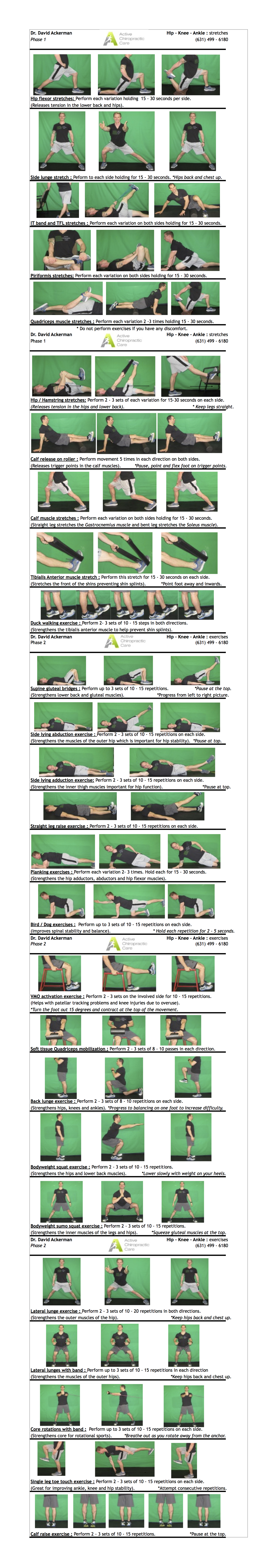 Knee Hip and Ankle Stretches/Exercises